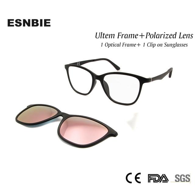 dd5169e0cb0e4 ESNBIE Moda Ultem Armações de óculos Das Mulheres com Clipe na Lente  Polarizada Óculos De Sol
