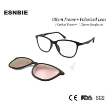ESNBIE Fashion Ultem Womens Eyeglass Frames with Clip on Sunglasses Polarized Lens Pink Mirrored Lenses Shadow UV400 Protection