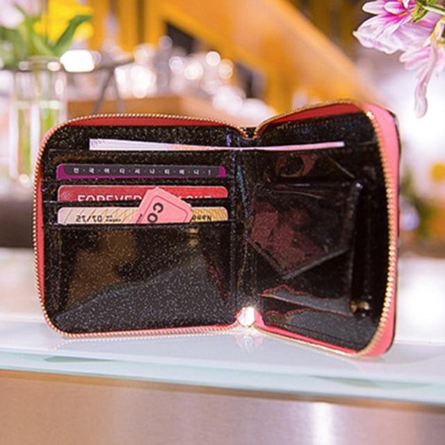 Mode coréenne carré femmes Laser hologramme porte-carte court portefeuille broderie lune nuit pochette porte-monnaie poche portefeuille