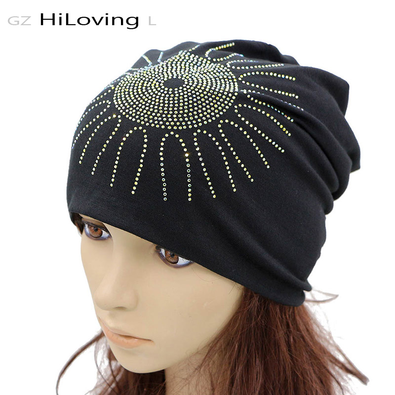 news GZHilovingL 2017 News Spring Diamond Womens Slouch Beanies Hat Solid Soft Polyester Loose Oversize Hats Women Floral Hats Caps