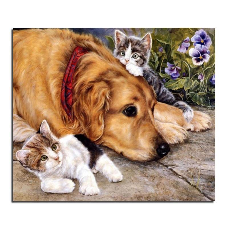Adorable chat et chien 60X70 gros bricolage diamant peinture décoration de la maison strass Stickers muraux broderie couture