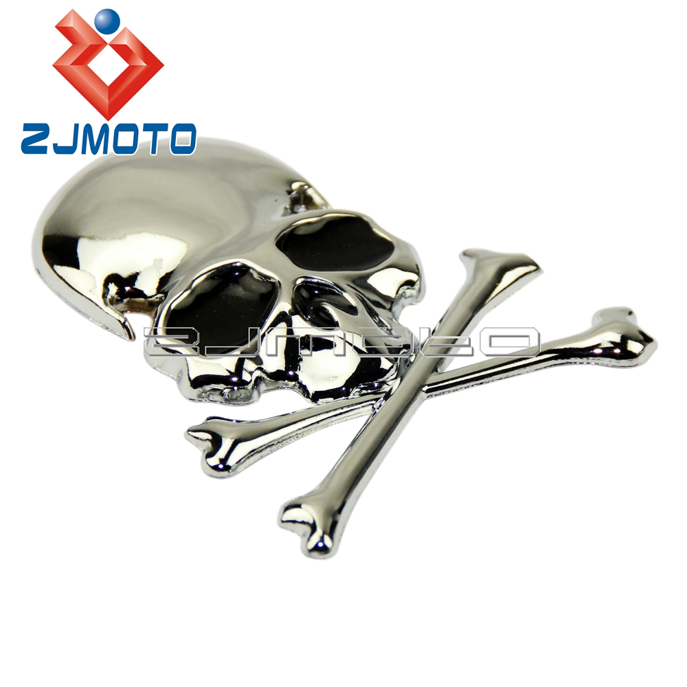 3d chrome metal skull car trunk motorcycle fuel tank emblem badge decal sticker for harley chopper bobber custom in decals stickers from automobiles