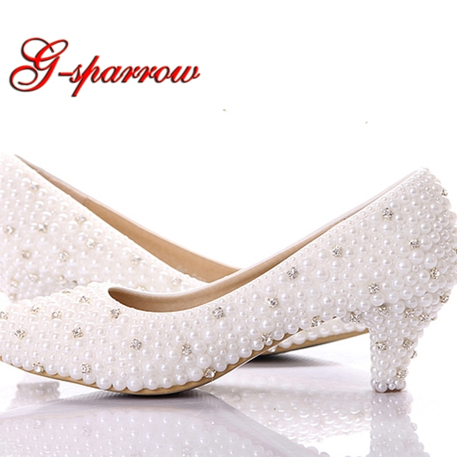 5345f4cadc White Pearl Kitten Heel 2 Inches Comfortable Wedding Party Shoes White  Color Mother of the Bride
