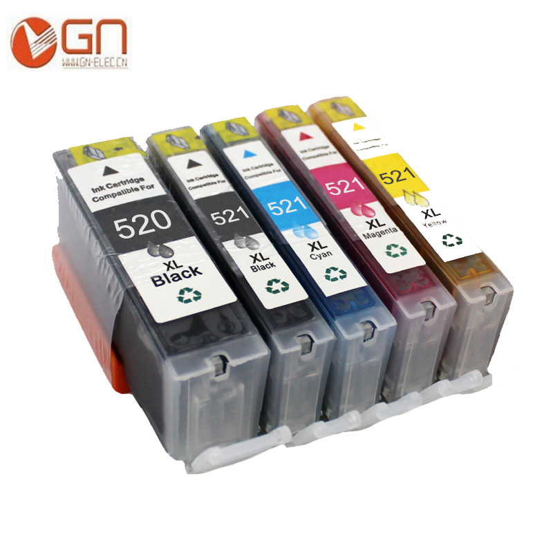 GN 5pcs Compatible Ink Cartridges PGI 520XL CLI 521XL for <font><b>Canon</b></font> <font><b>PIXMA</b></font> <font><b>IP3600</b></font> IP4600 IP4700 MX860 MX870 MP540 MP550 MP560 MP620 image