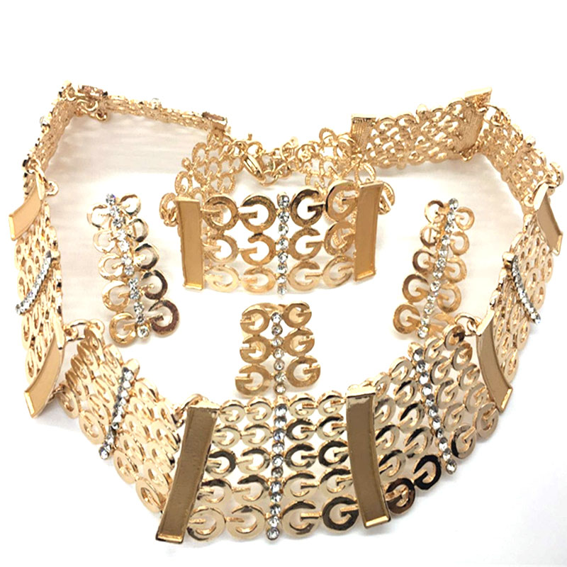 F&Y Hot Boho Collar Necklace Jewelry Sets Fashion Nigerian Wedding Necklaces Bracelets Set Women Bijoux