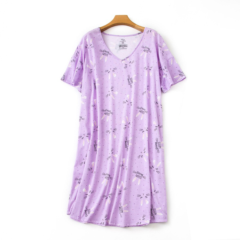2019 New Plus Size Nightdress Women Kawaii Cartoon Short Sleeve Ladies Nightwear Sexy Nightgowns Women Casual Pyjamas Dress