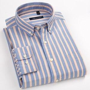 Image 1 - Erkek çizgili % 100% pamuk Oxford uzun kollu elbise gömlek göğüs cebi ile standart fit akıllı Casual düğme aşağı gömlek
