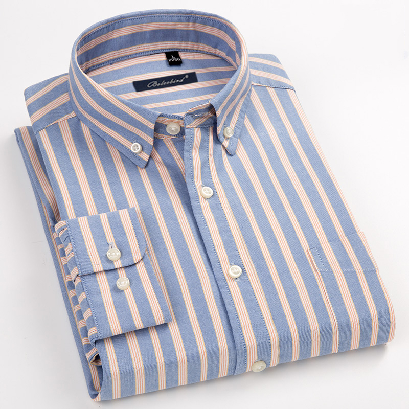 Men's Striped 100% Cotton Oxford Long Sleeve Dress Shirt With Chest Pocket Standard-fit Smart Casual Button Down Shirts