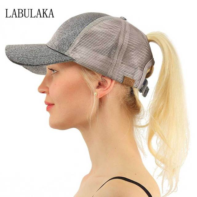 CC Ponytail Baseball Cap Glitter Women Messy Bun Dad Hats Summer Snapback  Mesh Trucker Hat Ladies 6ee50edd0438