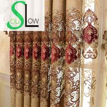 Slow Soul Chenille Curtain Embroidered Floral Europe Curtains Tulle Cortinas For Living Room Cortina Kitchen Bedroom Roman slow soul white blue yellow jasmine curtain fabric embroidered floral kitchen curtains for living room tulle bedroom and luxury