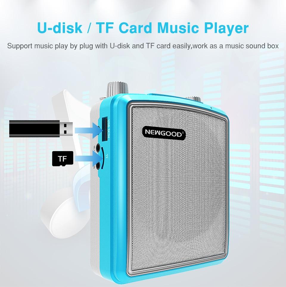 20w Portable Wireless Voice Amplifier Outdoor Speech Teach Speaker Box Uhf Microphone Fm Radio Loudspeaker