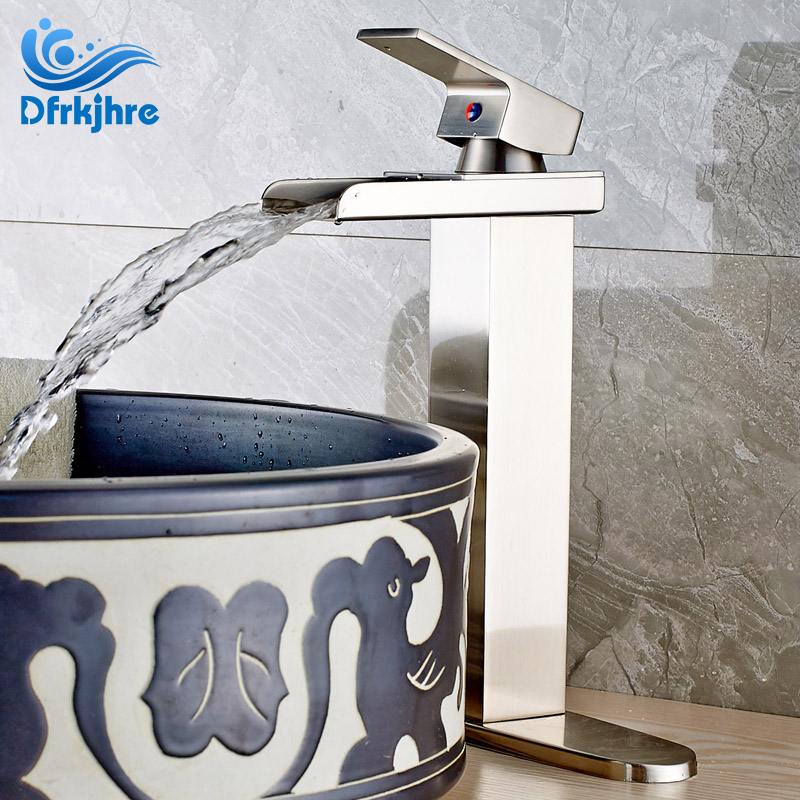 все цены на Nickel Brushed Bathroom Sink Faucet Single Handle Mixer Tap Waterfall Spout Mixer Tap with Cover Plate онлайн