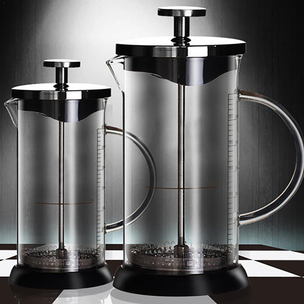 350ML/600ML French Presses Coffee Pot Glass Coffee Home Press Pot Heat-resistant Coffee Tea Filter Cup