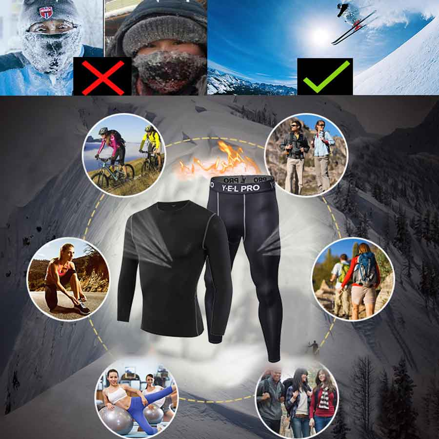 Image 2 - Yuerlian 2 pcs Fitness Tights Running Set Quick Dry Gym Sportswear Long Sleeve T Shirt Legging Pants Tracksuit Men Sports Suits-in Running Sets from Sports & Entertainment on AliExpress