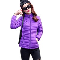 2019 Winter Jacket women Plus Size Womens Parkas Thin Outerwear solid Coats Short Female Slim Cotton padded basic tops
