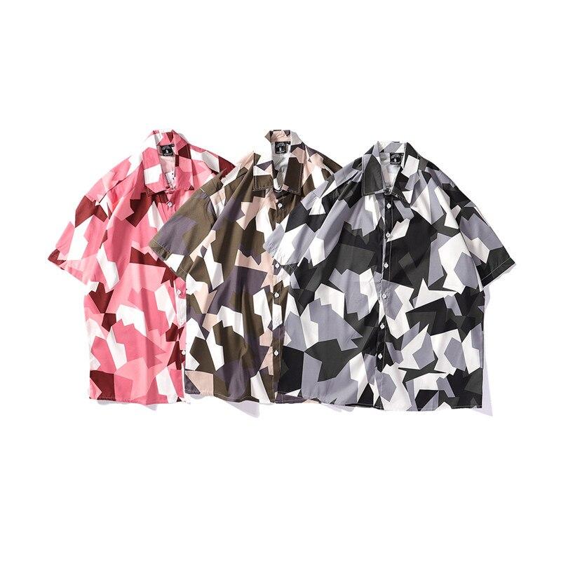 Bebovizi Mens Streetwear Geometry Short Sleeve Shirts Harajuku Hawaiian Pink Grey Shirt Hip Hop Casual Loose Shirt 2019 Hipster in Casual Shirts from Men 39 s Clothing