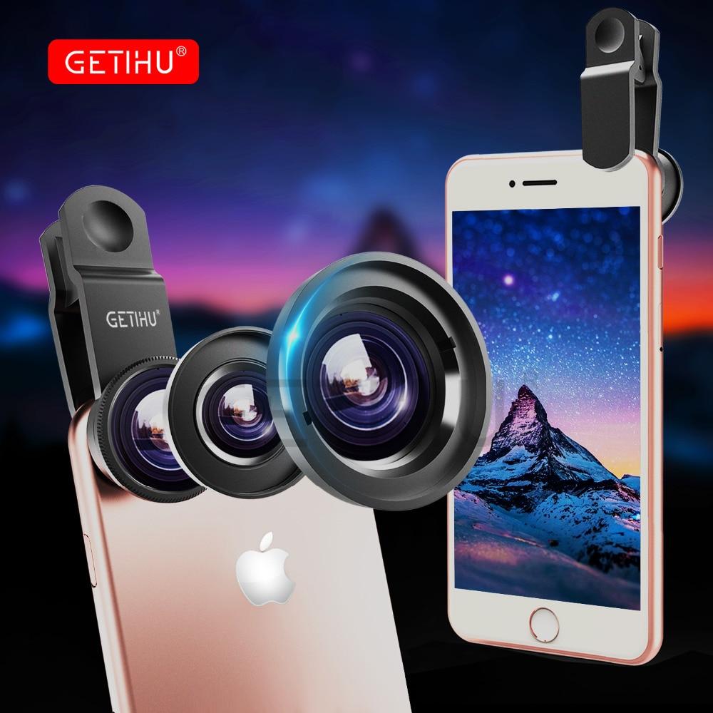 GETIHU Universal Fish Eye 3in1 + Clip Fisheye Smartphone Camera Lens Wide Angle Macro Mobile Phone Lents For iPhone X 8 6S Phone smartphone