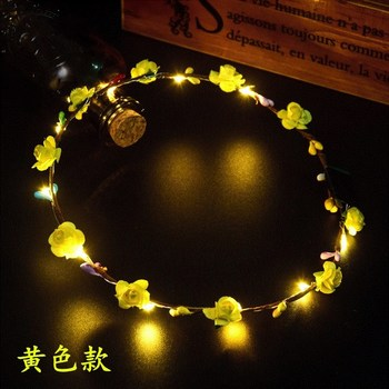 50pcs Colorful Flashing LED Flower Headband Light Up Floral Hair Garland Wreath Wedding Women Girl Hair Accessories lin3878