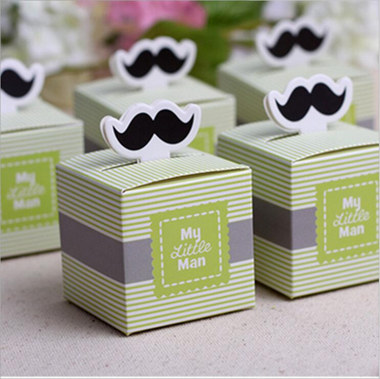 200pcs European My Little Man Sailboat Baby Shower Candy Boxes Boy First Birthday Party Gifts Box