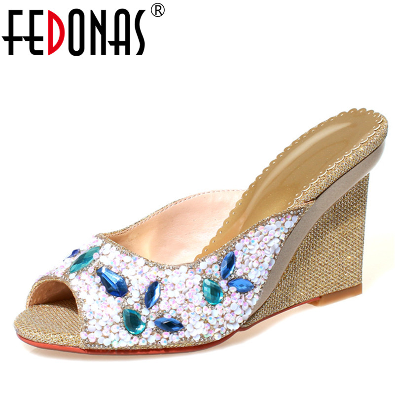 FEDONAS Women Shoes Sandals Non slip Fashion Rhinestone Wedding Party Shoes Woman Wedges High Heeled Club