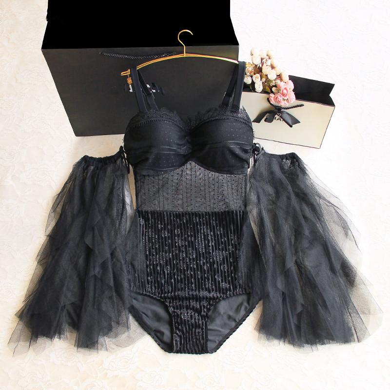2020 Swimsuit female black conjoined sexy Mesh halter high waist slim detachable Mesh sleeve summer Women\'s one-piece swimsuit