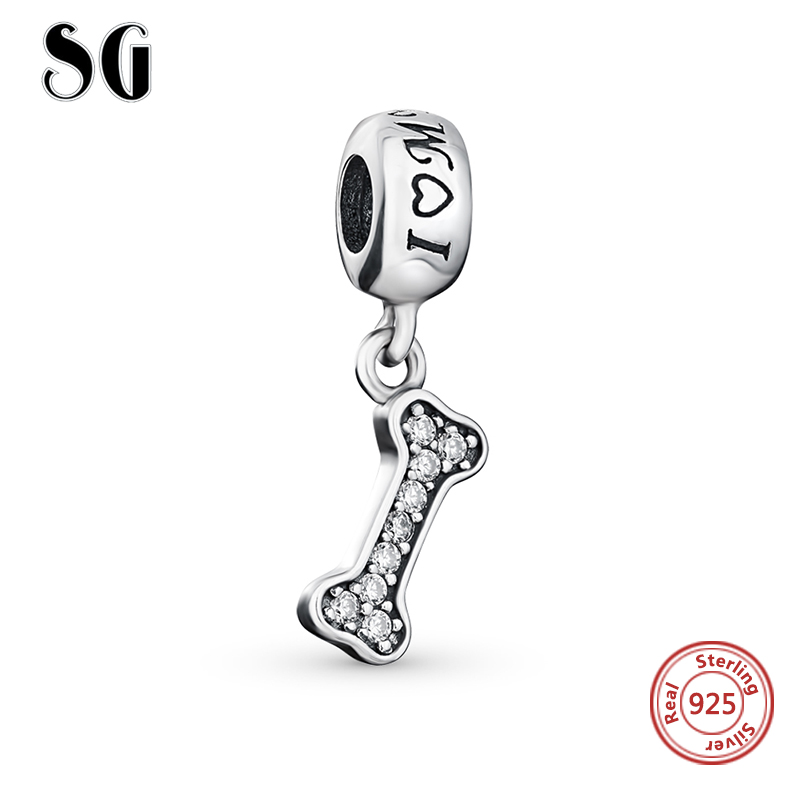 Fit Authentische pandora Armbänder pandora Perlen Original 925 Sterling Silber ICH Liebe Meinen Hund Knochen Charme Perlen Für Schmuck Machen