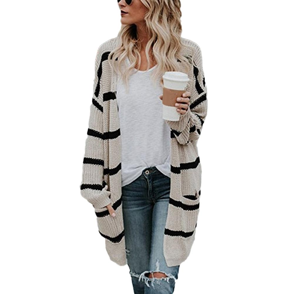 Ladies' Autumn Winter Long Cardigans Sweater Striped Knitted Outerwear With Pocket Women Loose Knitted Female Cardigan Pull Femm