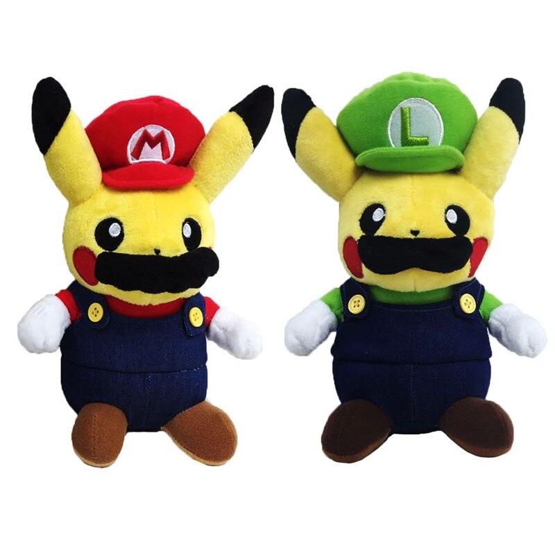 Cartoon Cute Pikachu Cosplay Super Mario Bros Luigi Mario Plush Toys Soft Stuffed Doll Christmas Gift For Children 2 Style 2