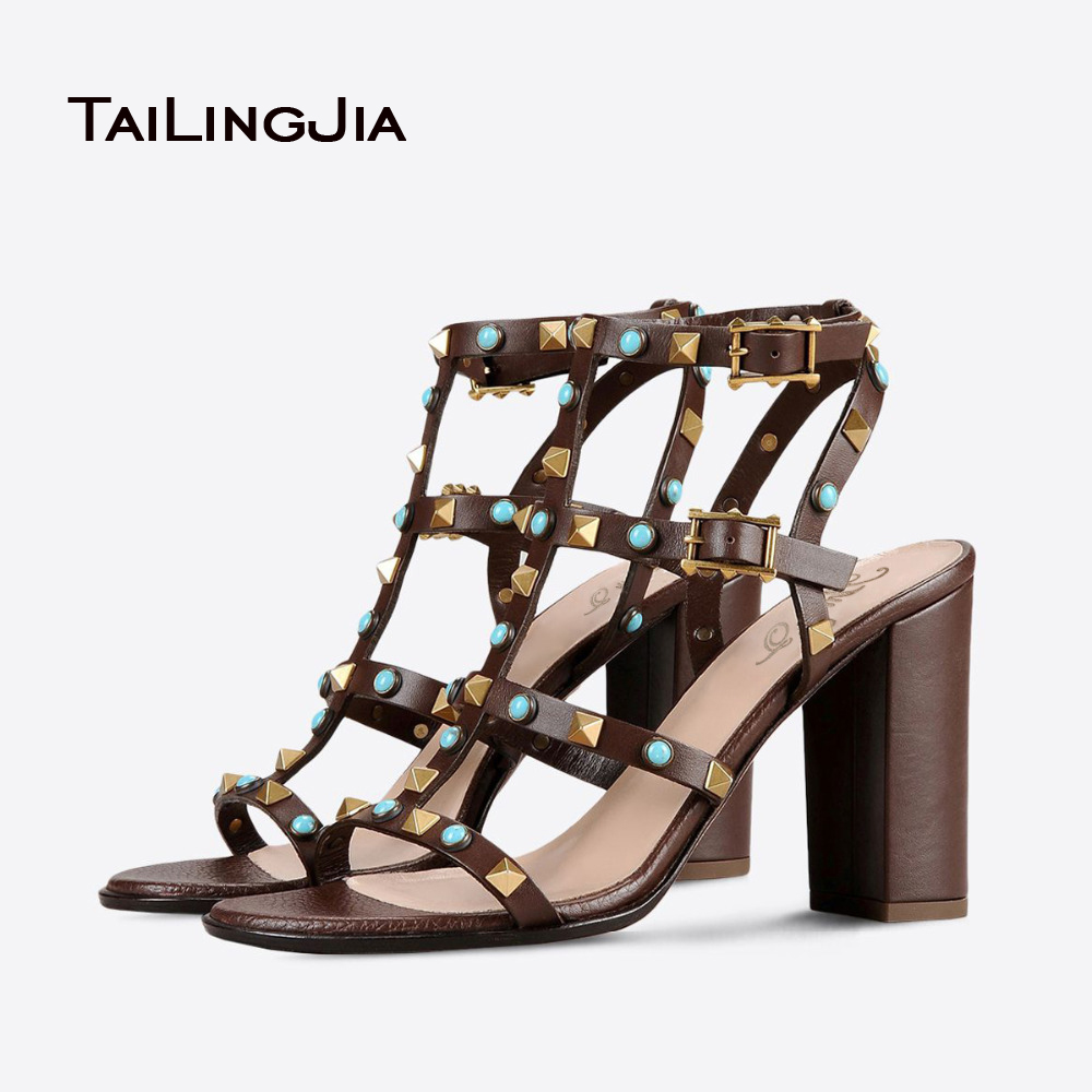 ФОТО 2017 New Sweet Chunky Heel Shoes Rome Leisure Open Toe Buckle Strap Summer Rivets Sandal Young Girl Shoes Hot Sale
