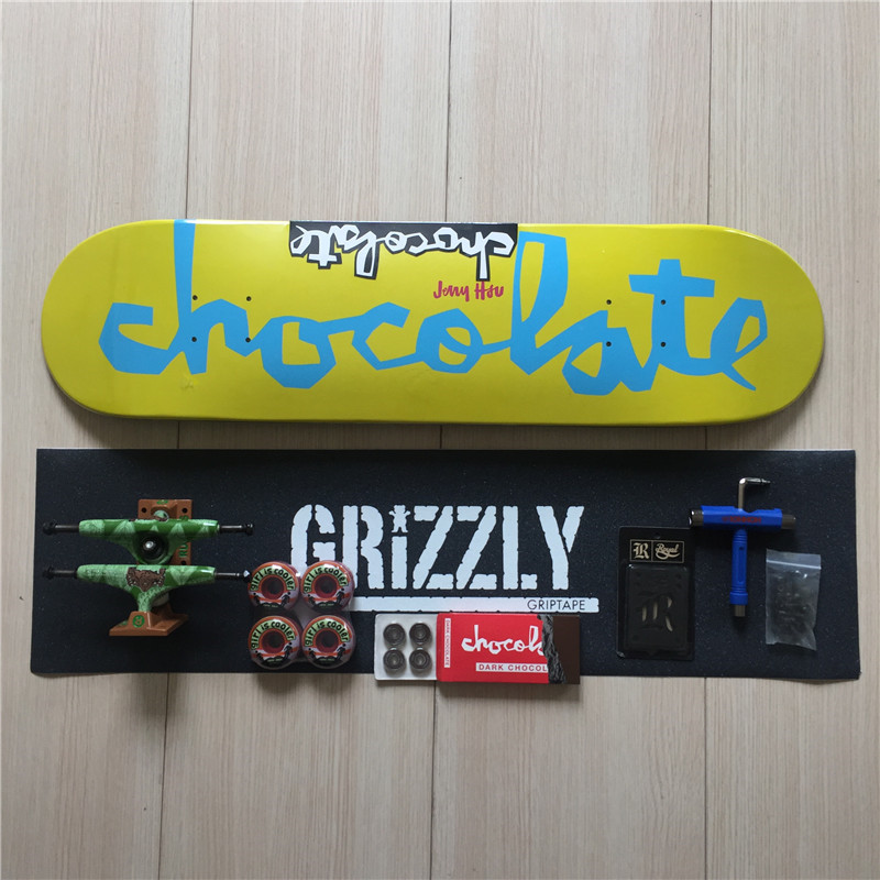 Complete Skateboard for Deck Trucks Wheels & Bearings with brand mixed Skate Board Set with Skateboard Accesorries  50mm 53mm 101a chocolate skateboard wheels made by high density pu 4 wheels for skate trucks parts to set up for the board