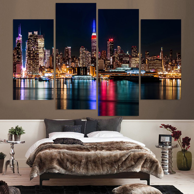 Beautiful Painting For Living Room Home Deco Cuadros 4 Panel New York City At Night  Print Modular