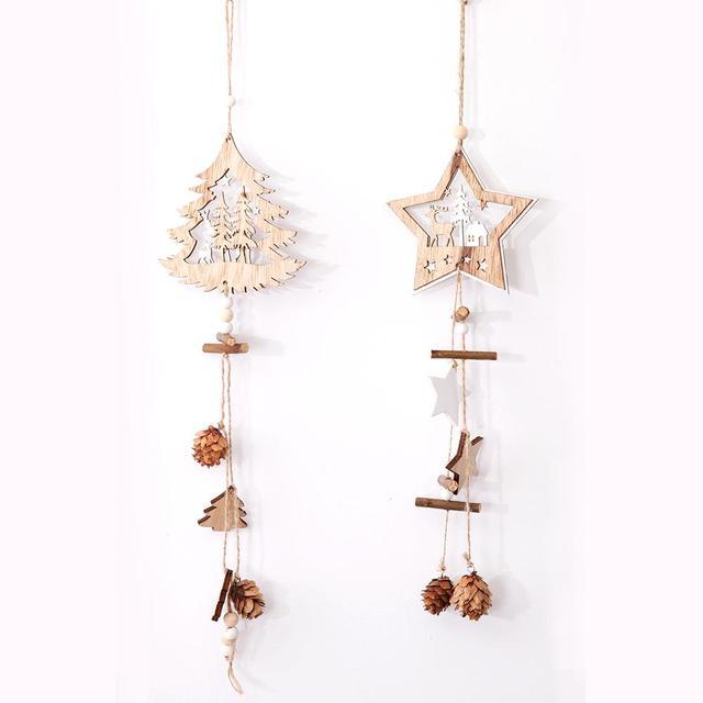 1 pz di Legno a Cinque Punte Star Ornamenti Corda di Canapa di Pino di Frutta di