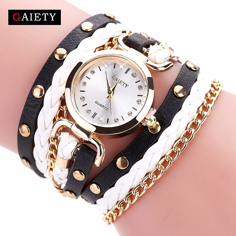 GAIETY Women Fashion Watch Quartz Female Clock PU Leather Crystal Retro Rivet Luxury Gold Ladies Women's Bracelet Watches insight шорты джинсовые insight surplus green