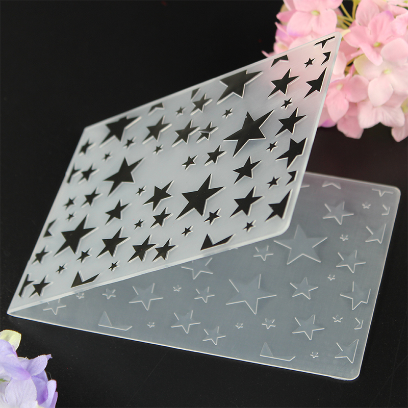 YLEF038 Litter Star Plastic Embossing Folder For Scrapbook Stencils DIY Album Cards Making Decoration Template Mold 10 5 14 5cm in Embossing Folders from Home Garden
