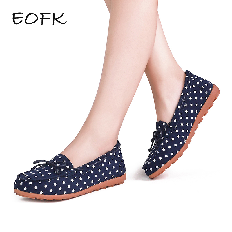 EOFK Leather Women's Loafers Polka Dot Soft Slip On Driving Loafers Women Flat Shoes Woman Bowtie Ballet Flats Shoes Mocassin eofk women ballet flats women s flat shoes casual cow suede leather loafers shoes woman butter fly slip on solid ladies shoes