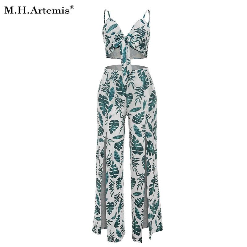 M.H.Artemis Palm leaves Print Bow tie Corp top and Side split Palazzo Pants 2 Piece Suit Boho chic Summer beach wear Party suit