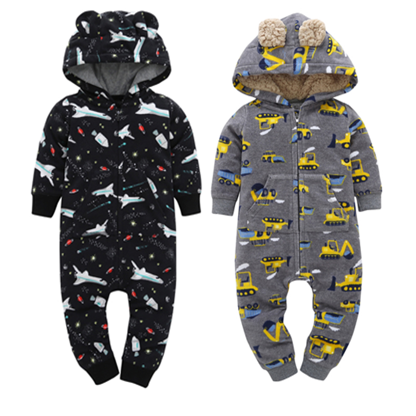 infant baby winter warm   rompers   fleece lining newborn ears costume long sleeve hooded jumpsuit overalls for 6-24M baby boy girl