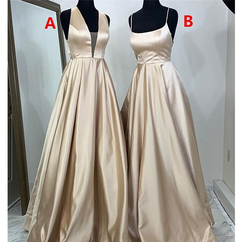2019 Sexy Backless Women Long   Prom     Dresses   Deep V Neck Ruffled Party Gown Sleeveless Two Styles Evening Vestido de festa longo