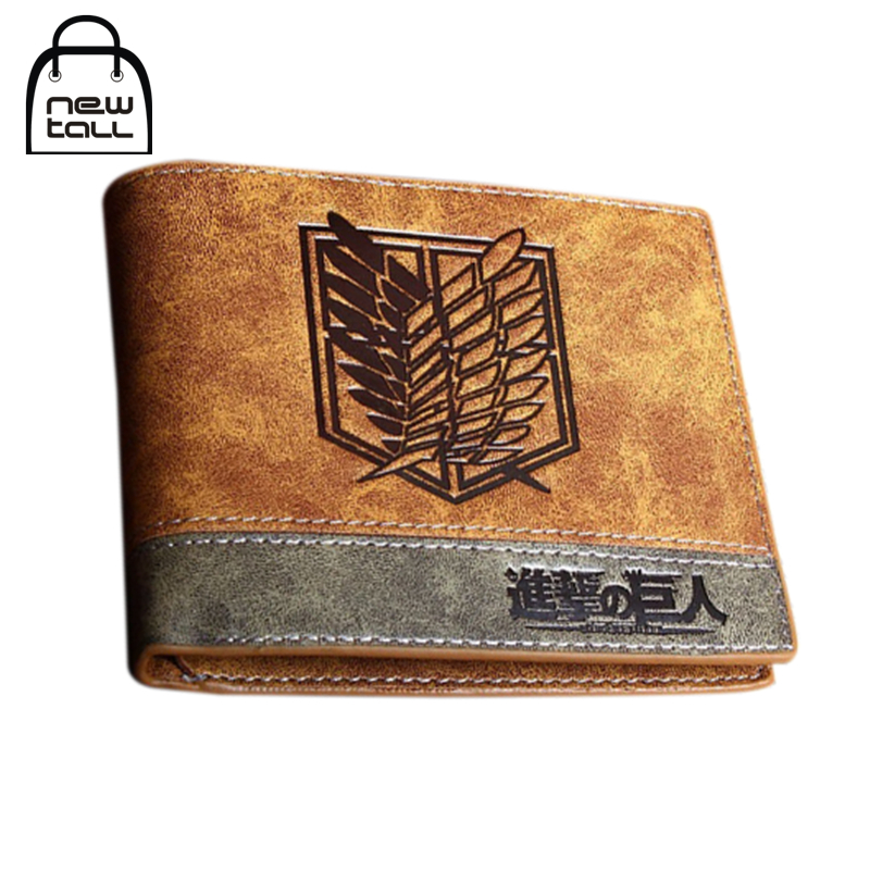 [NEWTALL] Japanese Anime Attack on Titan Scout Legion Survey Corps PU Leather Short Bifold Wallet Credit Card Holder Purse T1253 japanese anime poke death note attack on titan one piece game ow short wallet with coin pocket zipper poucht billetera