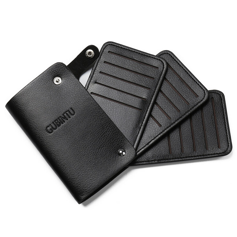 Gubintu Solid Men S Leather Credit Card Holder Wallet Id Cards Bag Business Case For Women In Holders From Luggage Bags On Aliexpress