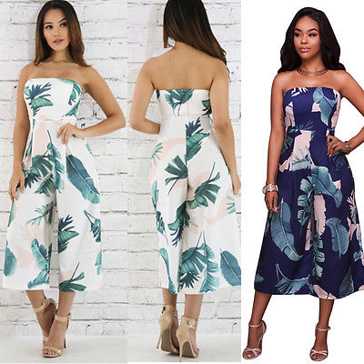 Women Strapless Printing Floral Jumpsuit Clubwear Playsuit Bodycon Party Trouser