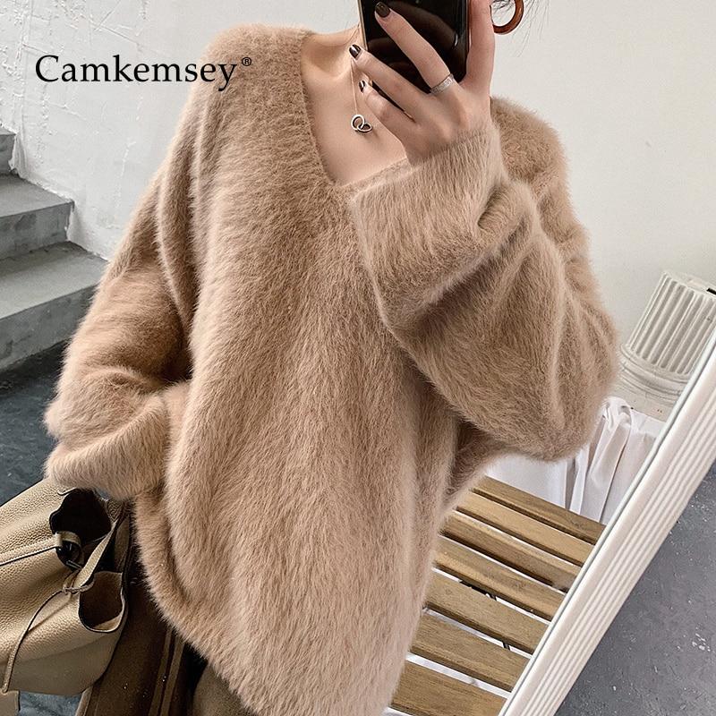 613e9f156db93 Camkemsey-Automne-Hiver-Tricot-blouson-pour-femme-2019-De-Mode-V-Cou -qualit-sup-rieure-R.jpg