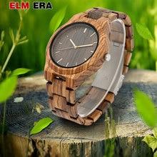 ELMERA relogio masculino ساعات خشبية أنيقة ساعة رجالي ساعة رياضية على مدار الساعة الحد الأدنى ساعة خشب