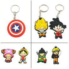 Tokyo Ghoul Anime Wukong Cartoon Key Chains Hot Dragon Ball Silicone Key Chain Animal Joba Luffy Naruto Bag Key Ring KeyChain(China)