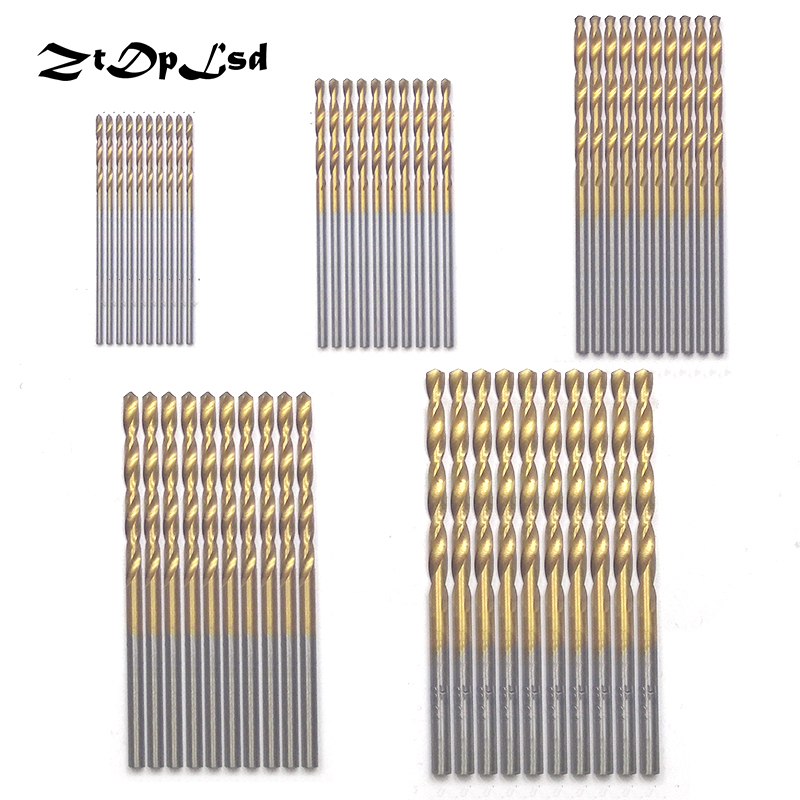 ZtDpLsd 50Pcs/Set Twist Drill Bit Saw Set HSS High Steel Titanium Coated Drill Woodworking Wood Tool 1/1.5/2/2.5/3mm For Metal stainless steel nylon insert hex lock nut 4 40 qty 2500