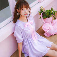 Summer Soft Japanese Lovely Young Girl Cute Peter pan collor Bow tie Ruffles Mini Dresses Fresh Solid Chiffon Short Vestidos