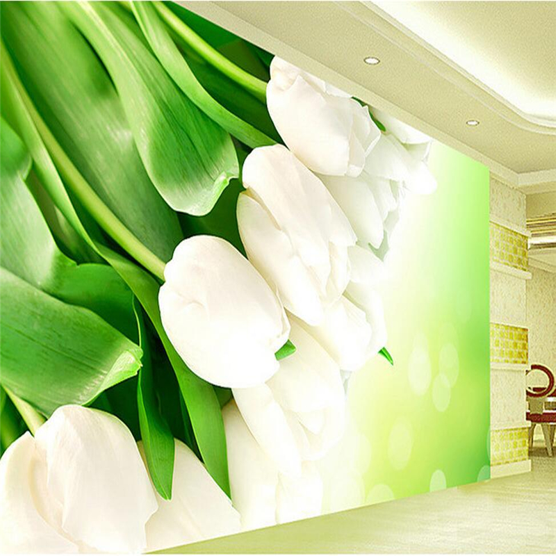 Customized Photo Wallpapers with Flowers White Tulips 3d stereoscopic wallpaper TV Background 3d Mural Wall Paper Kitchen Study 3d photo custom wallpapers stereoscopic green rattan white tv wallpaper leaf wall mural wallpaper home decor wall paper