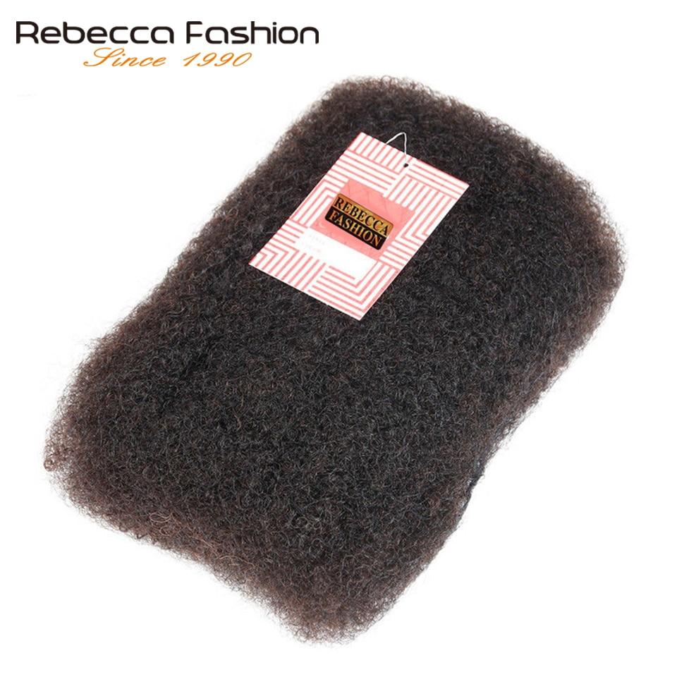 Rebecca pelo Remy brasileño Afro rizado pelo humano a granel para trenzar 1 paquete de 50 g/pc Color Natural cabello trenzas sin trama