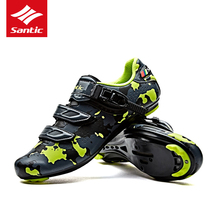 2017 New Santic Breathable Mens Cycling Shoes PU MTB Road Bike Shoes Auto-Locking Pro Athletic Racing Bicycle Shoes 3 Color