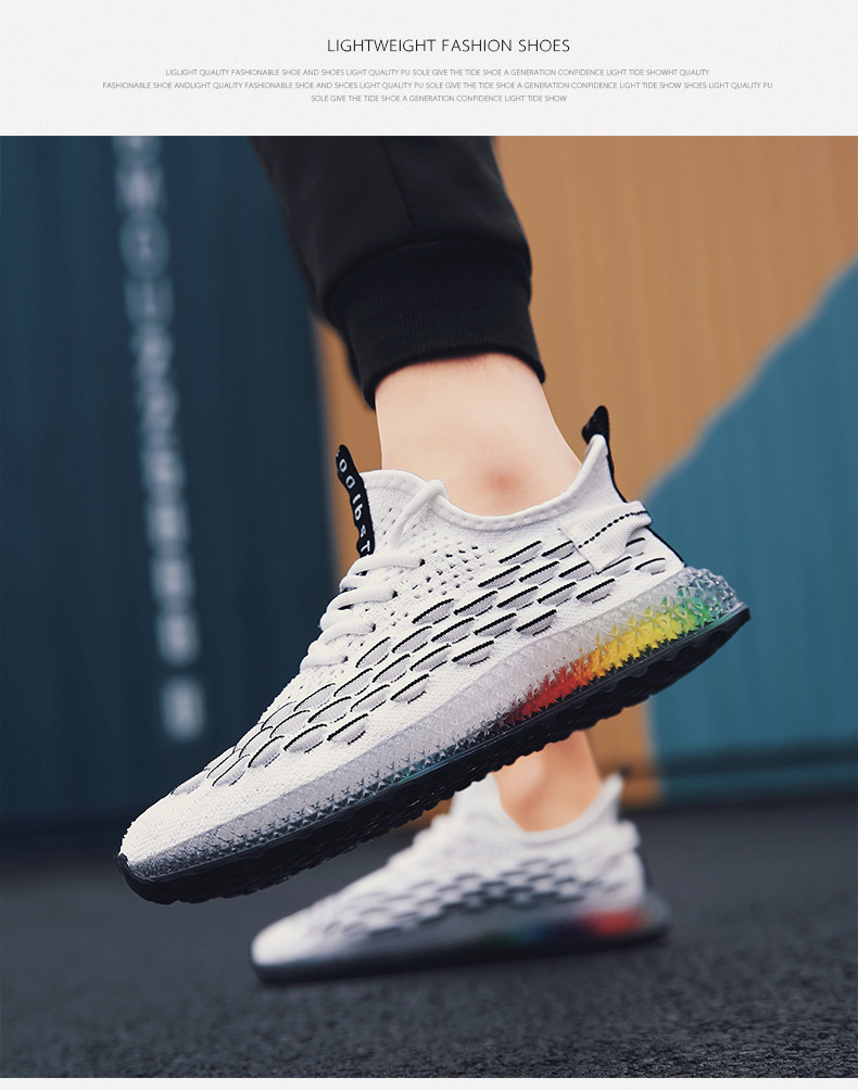 Casual Fashion 4D print Men's dad Sneakers Flying Weaving Mesh Breathable Men Shoes Outdoor tenis Footwear Zapatillas Hombre
